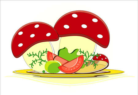 eggs with tomato in mushroom and vegetables on dish Vector