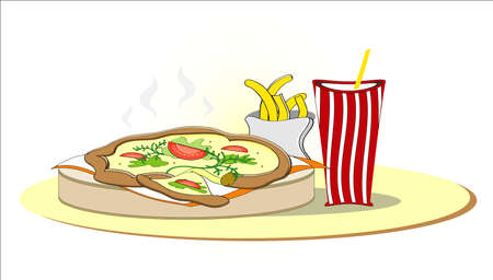 pizza with french fries and cola Illustration