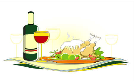 roast chicken  with bottle of wine on served table Stock Vector - 11170479