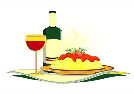 spaghetti with bottle of wine on served table