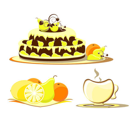 cake with fruit on dish and cup