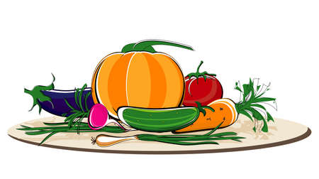 vegetables colored on dish Vector