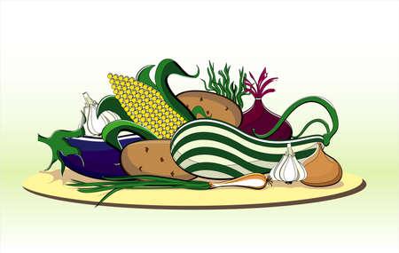 vegetables summer on plate on white background Illustration