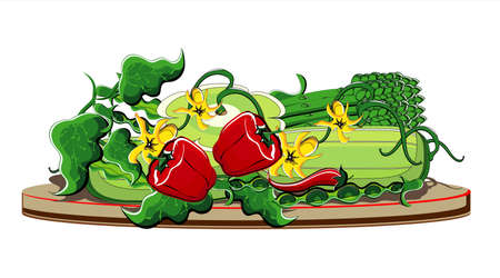 fresh produce: vegetables summer on plate on white background Illustration