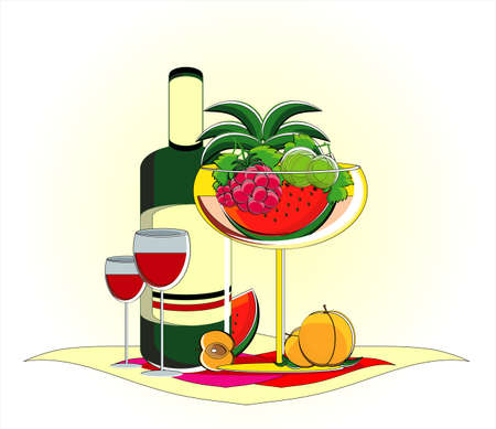 fruits in vase with bottle of red wine on served table Stock Vector - 11592997