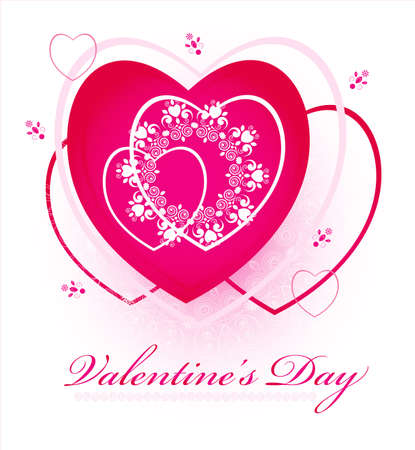 pink hearts with pattern for valentines day Illustration
