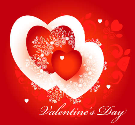 two red hearts with pattern  for valentine's day Stock Vector - 11720461