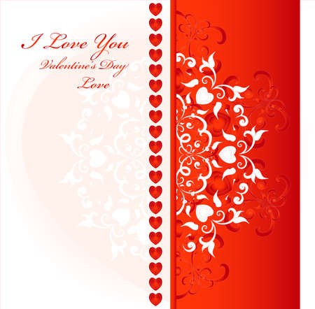 decorative background with red heart and pattern Illustration