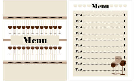 restaurant menu design with glass of wine Stock Vector - 12497228