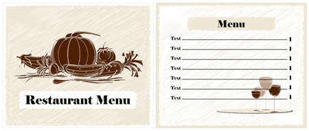 restaurant menu design witn vegetables Stock Vector - 12497227