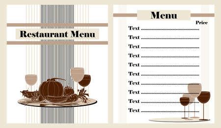 turn table: restaurant menu design with vegetables Illustration