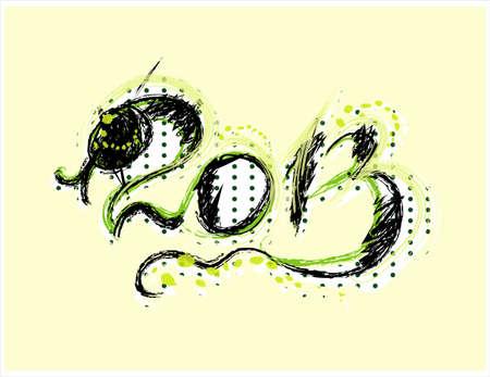 serpent noir: nouvelle ann�e 2013 avec carte de serpent noir Illustration