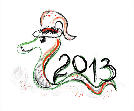 new year 2013 card with green snake Vector