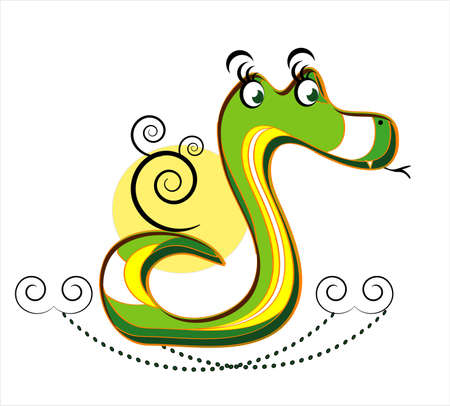 slither: snake with decorative black curl on white background