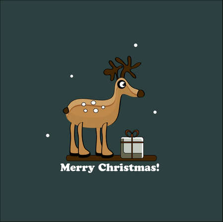 christmas deer with gift Vector