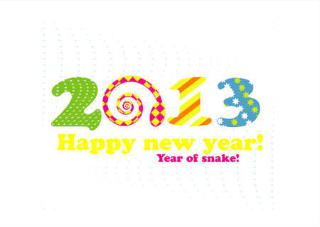 new year card 2013 with snake Vector