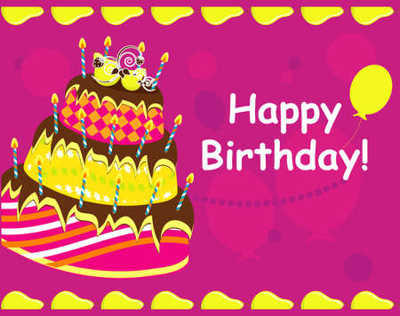 happy birthday with cake card  vector illustration  Vector