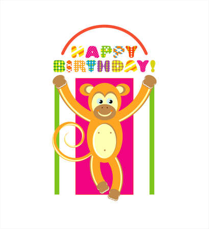 happy birthday card with fun monkey  vector illustration  Vector