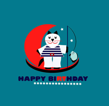 happy birthday card with fun cat  vector illustration  Vector