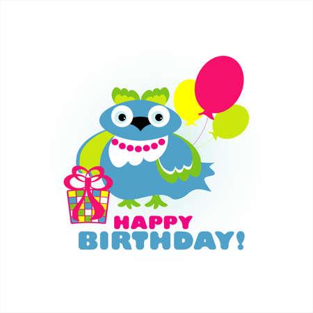 rejoicing: birthday card felice con illustrazione vettoriale uccello divertimento
