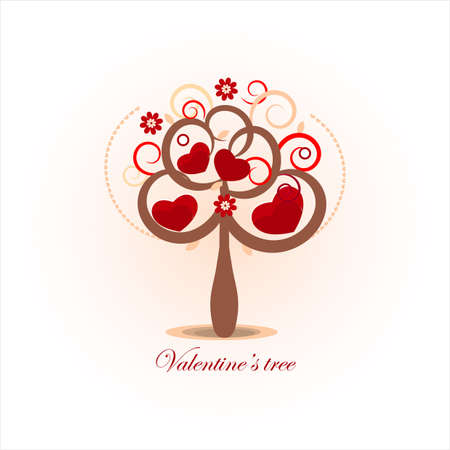 valentines day card with tree and hearts Vector