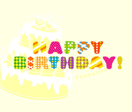 happy birthday card with cake  vector illustration  Illustration