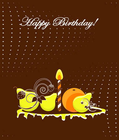 happy birthday card with cake  vector illustration  Vector
