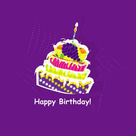 happy birthday card with cake  vector illustration  Illustration