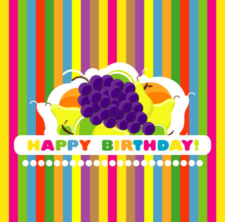 happy birthday card with fruit  vector illustration  Illustration