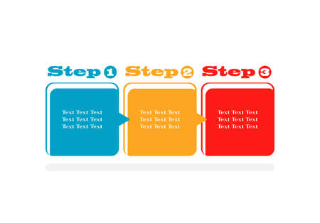 one two three steps progress vector background  Illustration