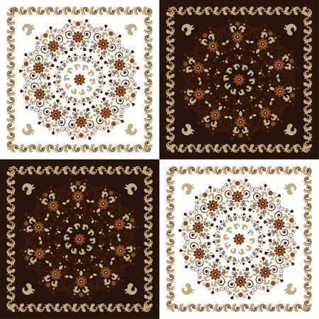 pattern with flower on colored background Illustration