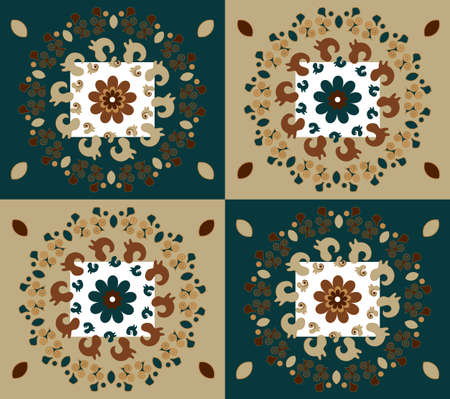 pattern with flower on brown background