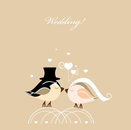 rsvp: wedding card with birds Illustration