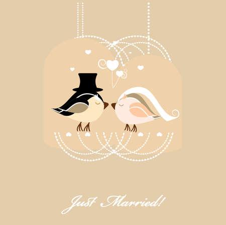 wedding card with birds Illustration