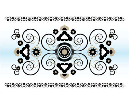 horizontal ornament with flowerand curl