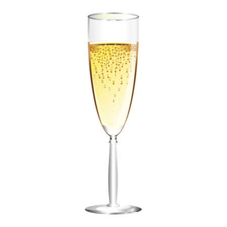 one glass of champagne over white background
