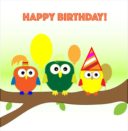Owl Seats On Tree With Ball Happy Birthday Card Royalty Free