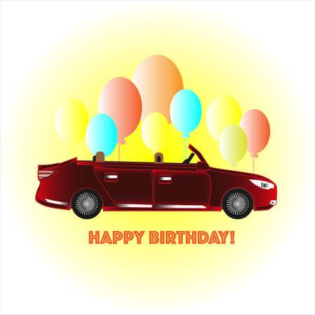 Happy birthday card with car Illustration