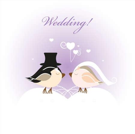 Wedding card with bird.