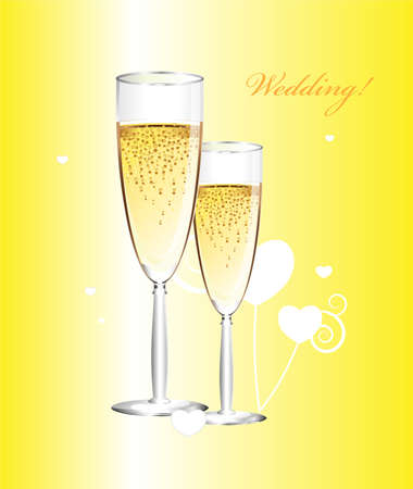 Wedding card with champagne. Çizim