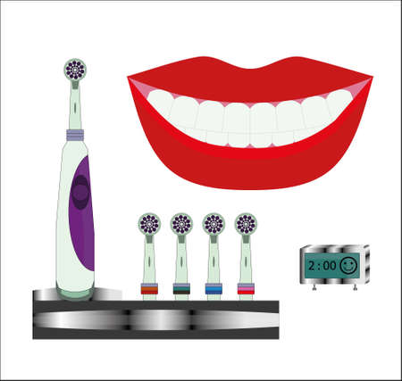 Close up of perfect and healthy teeth with electric toothbrush and time concept clock