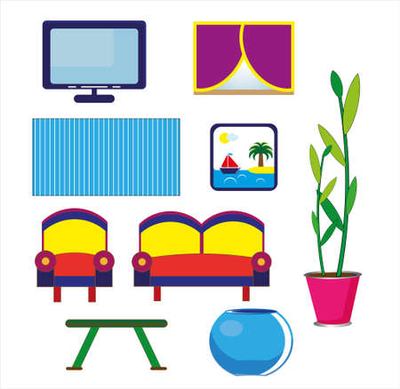 Hand drawn cartoon set of family room on white background. Flat style icons and illustration.