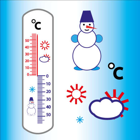 Street thermometer with white cartoon snowman Illustration