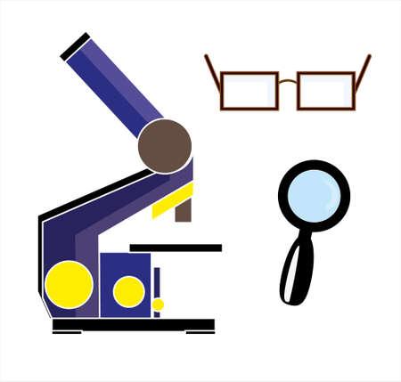 Magnifying  optical tools isolated on white background (microscope, magnifying glass, eyeglasses) Illustration