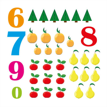 Colorful Numbers from six to nine with funny figures over white background