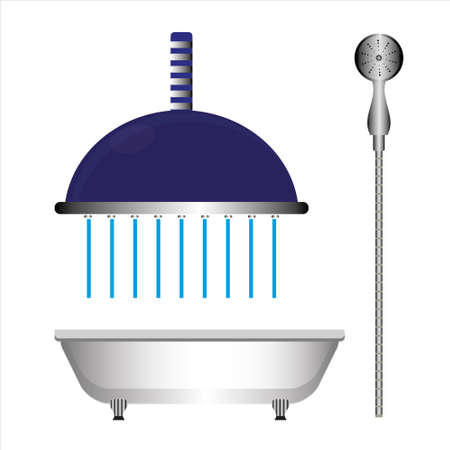 Closeup of shower head with flowing water and bathroom. Illustration