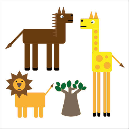 Cartoon animals оf african savanna with baobab.