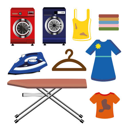 Colorful cleaning images illustration.
