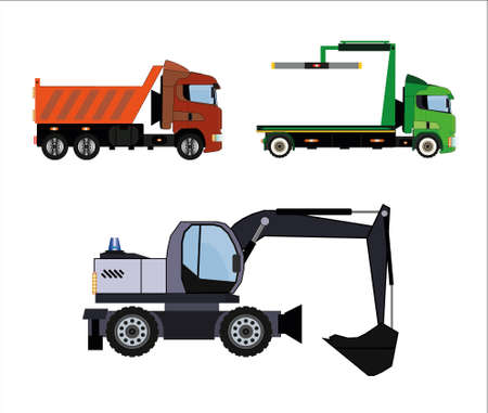 Vehicles set of color images.