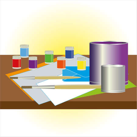 Painter and decorator work table with house project. Illustration